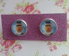 Bert from Sesame Street Image Silver Plated Earrings Gift Present fun gift