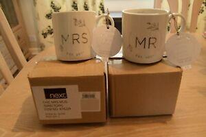 NEXT Mr & Mrs wedding mugs (2021) - new and boxed