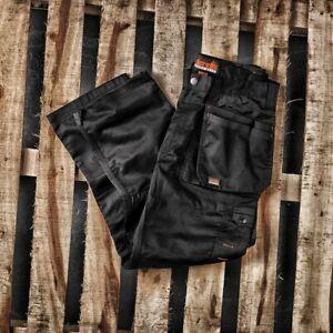 SCRUFFS BLACK WORKER PLUS TROUSERS 34W SHORT 30L WORKWEAR CLOTHING HARDWEARING