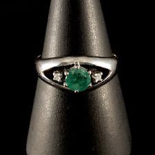 Classique Émeraude & Diamant Bague 585er - 14 Carat or Blanc Rg. 58