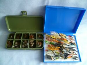 2 VINTAGE FLY BOXES EACH WITH 50+ FLIES TROUT & SALMON TROUT FISHERMAN