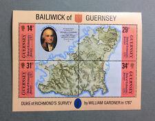 Bailwick of Guernsey 4 timbres Carte de William Gardner 1987 Yvert Tellier B7
