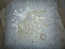 """New Satin Lace & Pearls Wedding Ring Pillow """"White Rose"""" by Lillian Rose"""