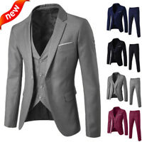 Men's Suit Slim 3-Piece Suit Blazer Business Wedding Party Jacket Vest & Pants Z