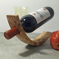 Olive Wood Gravity Bottle Holder Balancing Wine Handmade