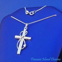 "Infinity Cross With Heart .925 Sterling Silver Necklace 16"" or 18"" Faith Forever"
