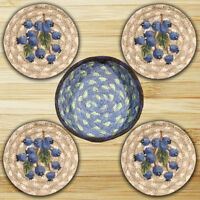 BLUEBERRIES 100% Natural Braided Jute Coaster Set of 4 with Jute Basket