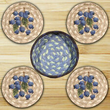 Blueberries 100% Natural Braided Jute Coaster Set of 4 with Jute Basket
