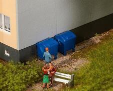 2 blue Trash cans, Faller Model Building Kit Miniatures H0 (1:87), Item 180914