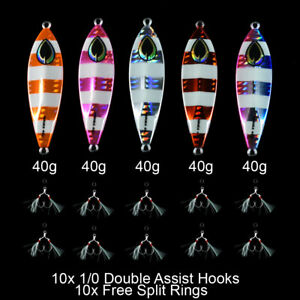5x 40g Slow Pitch Jigging Metal Jigs Glow in Dark Value Pack
