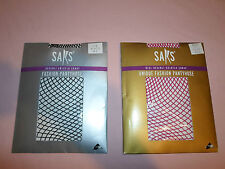 New ! Lot Saks Fashion Lycra *Fish Net Panty Hose* *Medium-Large* M-L Pink Black