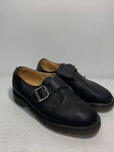 Original Dr Doc Martens Buckle Strap Black Leather Shoes Sz 2 UK ENGLAND