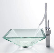 Handmade Bathroom Crystal Clear Glass Vessel Art Basin VG011