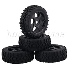 4pcs RC1:8 Buggy Prism Shaped 5 Hole Black Rubber Tires Plastic Wheel Rims
