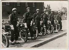 PHOTO ANCIENNE -MILITAIRE MOTO MOTARD POLICE GENDARMERIE DÉFILÉ-Vintage Snapshot