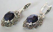 925 Sterling Silver Blue Sand Stone Inlay Marcasite Ornament Dangle Earrings