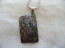 VINTAGE BLUE PAUA SHELL ( SEA OPAL ) PENDANT on STERLING SILVER CHAIN NECKLACE