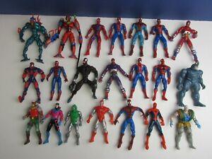 "21 vintage MARVEL toybiz SPIDER-MAN 5"" ACTION FIGURE 1995 lot set VENOM RHINO"