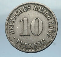 1907 J GERMANY 10 Pfennig Antique German Empire Coin of King WILHELM II i66821