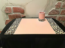 Mid Century Modern Pink Amp Leopard Blotter Desk Pad Amp Pencil Cup Desk Set 20x14