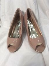 Nude Patent Peep Toe Heels Shoes The Shoe Tailor Size 6E Uk