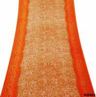 Indisch Vintage Sari Braun Seide Mischung Blumen Saree 5 Yd DIY Gebraucht SI8489