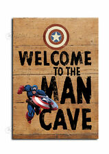Man Cave Sign,Captain America Welcome Man Cave Retro Sign, Novelty Wooden Plaque