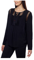NEW Joseph A Ladies' Crinkle Blouse Crochet Detail Loose Fit Top Shirt -Black XL