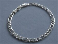 "10"" Figaro Ankle Bracelet- 5mm Sterling Silver Italy 925- New"