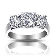 1.93 ct Ladies Three Stone Round Cut Diamond Engagement Ring In Platinum