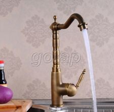 Antique Brass Swivel Spout Bathroom Kitchen Sink Faucet Vessel Basin Mixer Tap