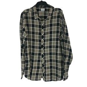 Columbia Men Plaid Flannel Long Sleeve Shirt Button Up Black/Grey - Size Large
