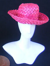 1:12 Ladies Red Woven Straw Hat Doll House Miniature Beach Clothing Accessory