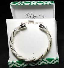 Silver Plated Cuff Bracelet In Gift Box NEW Dazzling Designs Braided Pretty NICE