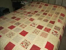 NEW Handmade Queen Size Patchwork Quilt French Country Floral Red Gray Cream Tan