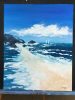"Large Ocean Beach Seascape Coastal Original Painting Acrylic Impasto Art 20""x16"""