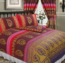 DOUBLE BED DUVET COVER SET KASHMIR MAROON WINE GOLD RED MIDDLE EASTERN ETHNIC