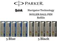 Parker Navigator Medium Roller Ball Pen Refills, 5 Pcs Blue + 5 Pcs Black Ink