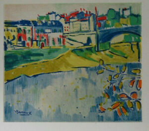 Maurice of Vlaminck: The Bridge Of Chatou - Lithography Signed, 1958, 2000ex