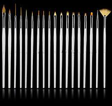 New White 15Pc Nail Art Painting Designing Dotting Striping Brush Set