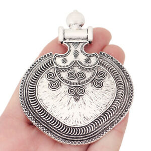 2 Antique Silver Large Tribal Boho Charms Pendants for Necklace Jewellery Making