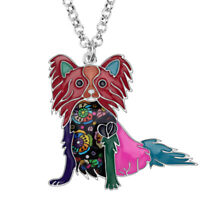 Enamel Alloy Papillon Dog Necklace Chain Collar Pendant Jewelry For Women Charms