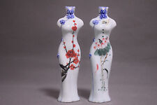 2pcs collect rare China Hand-painted flower cheongsam porcelain vase