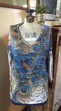Jess And Jane Woman's Long Sleeve Shirt SZ S Sheer Peacock Blue Bling USA