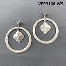 Rhombus Design Drop Dangle Post Earrings Matte Silver Finish Hammer Circle Shape