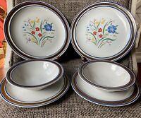 SALEM STONEWARE ~GEORGETOWN~ FLORAL 6-piece Dinner Set Plates & Bowls OHIO, USA