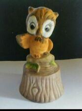 Vintage 1970's Owl on Stump Fine Porcelain Dinner Bells