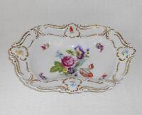 """Lindner Kueps Bavaria Dresden Flowers Ornate Hand Painted 12"""" Porcelain Bowl"""