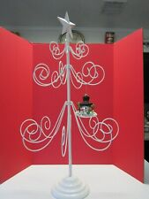 """Used 36"""" Metal Scroll Christmas Ornament Store Display Tree White Star Flawed"""