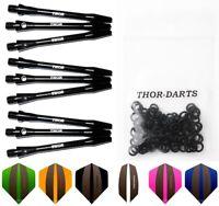 9 THOR Dart Alu Schäfte + Flights F3 + Gummiringe schwarz black shafts aluminium